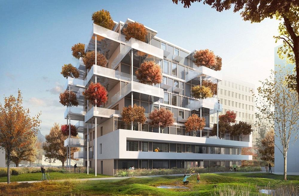 "Grenoble et son nouvel immeuble ""Mikado"""